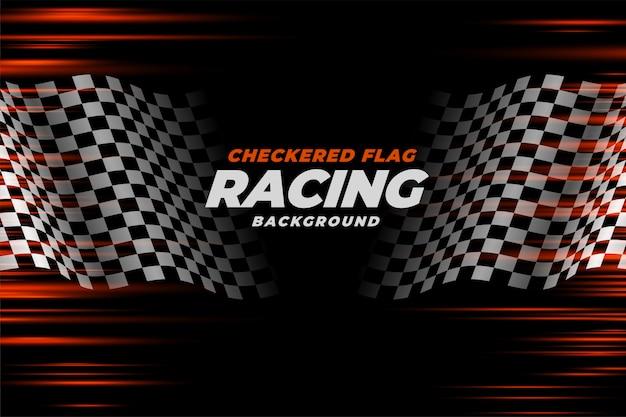Sfondo di velocità bandiera a scacchi da corsa
