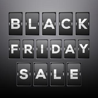 Sfondo di vendita del black friday con design analogico a flip clock