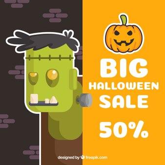 Sfondo di vendita di halloween con zombie