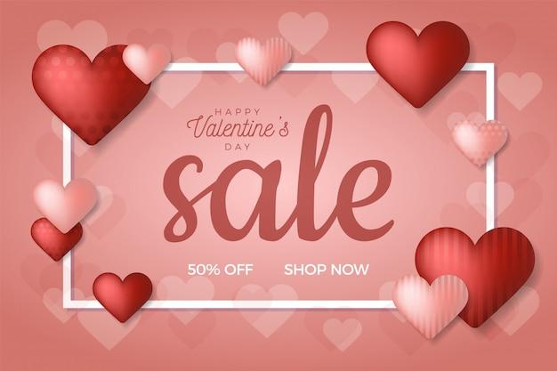 Sfondo di vendita di san valentino con cuore di palloncini