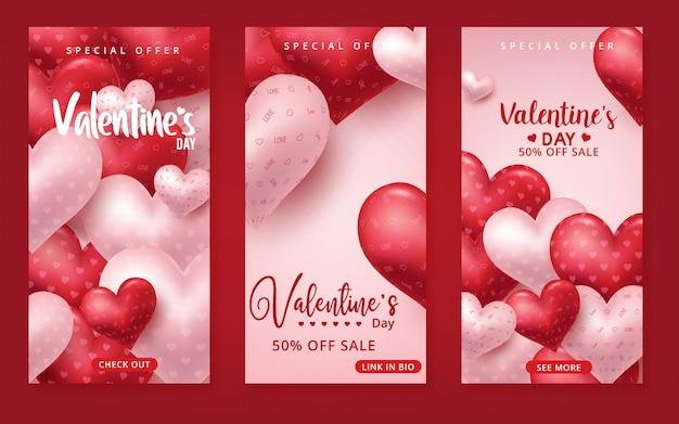 Sfondo di vendita di san valentino con palloncini a forma di cuore.