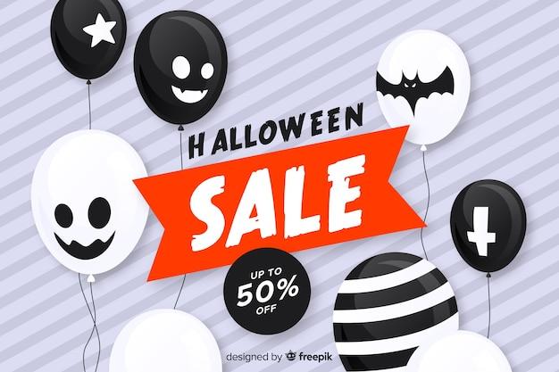 Sfondo di vendita piatto halloween con palloncini