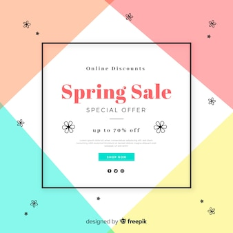Sfondo di vendita primavera geometrica