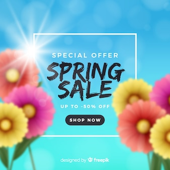 Sfondo di vendita primavera offuscata