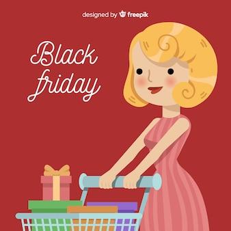 Sfondo di vendita venerdì nero con shopping donna carina