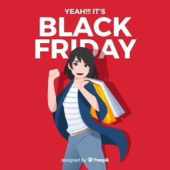 Sfondo di vendita venerdì nero con shopping ragazza