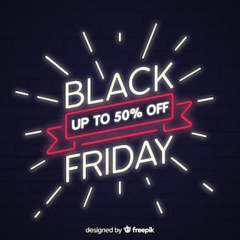 Sfondo di vendita venerdì nero con stile neon