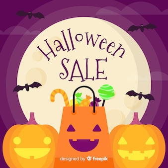 Sfondo di vendite di halloween in stile piano