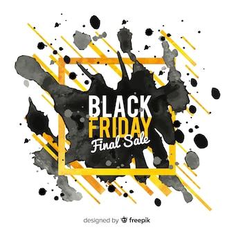 Sfondo di vendite venerdì nero con macchie di acquerello