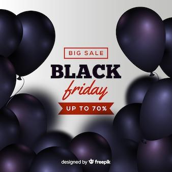 Sfondo di vendite venerdì nero con palloncini
