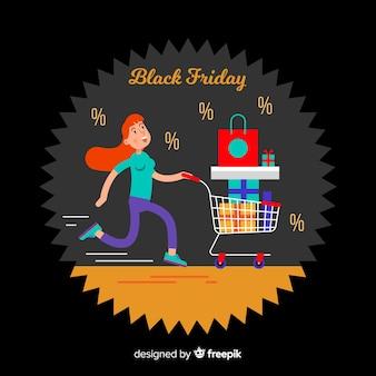 Sfondo di vendite venerdì nero con shopping ragazza