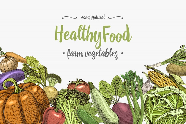Sfondo di verdure fresche con spazio per testo, disegnato a mano o inciso, vintage, piante dall'aspetto retrò, cibo vegetariano e sano