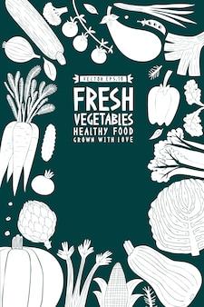 Sfondo di verdure stile linoleografia. cibo salutare. illustrazione vettoriale
