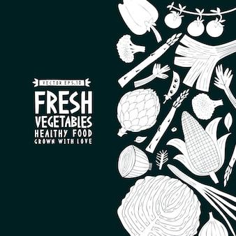 Sfondo di verdure stile linoleografia. cibo salutare.
