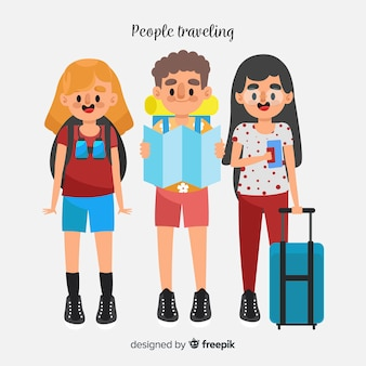Sfondo di viaggiatori piatto