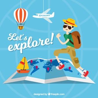 Sfondo di viaggio con articoli turistici e decorativi
