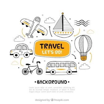 Sfondo di viaggio con diversi trasporti