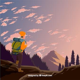 Sfondo di viaggio con escursionista