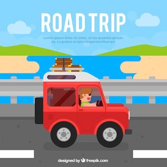 Sfondo di viaggio con jeep