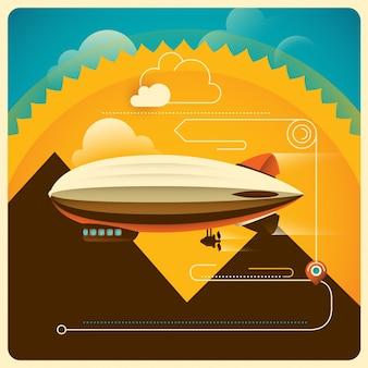Sfondo di viaggio con zeppelin