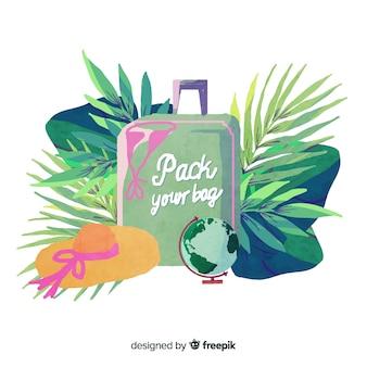 Sfondo di viaggio dell'acquerello con una valigia