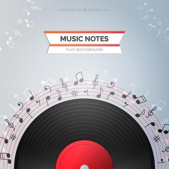 Sfondo di vinile con note musicali