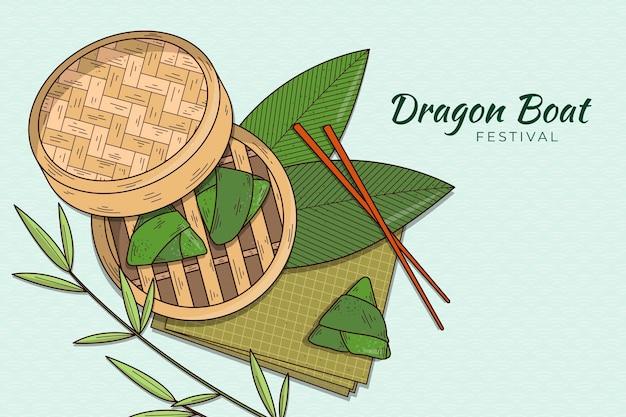 Sfondo di zongzi della barca drago disegnato a mano