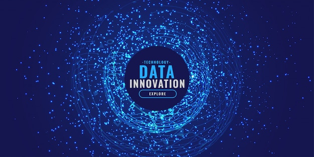 Sfondo digitale con particelle esplose concetto di tecnologia