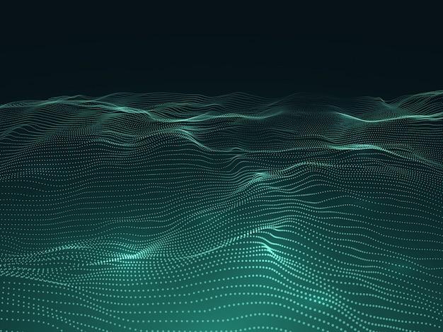 Sfondo digitale con superficie ondulata. paesaggio futuristico 3d con particelle. concetto di vettore di dati di onde sonore