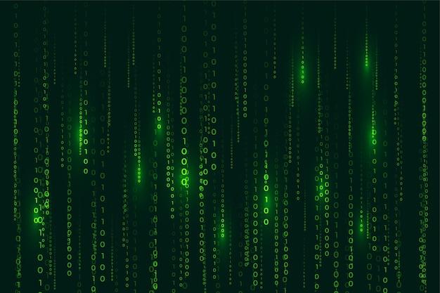 Sfondo digitale di codice binario stile matrice con numeri che cadono