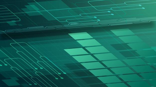 Sfondo digitale verde per la tua creatività con tracciati grafici e chip