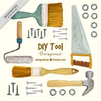 Sfondo dipinte a mano sugli strumenti di carpenteria