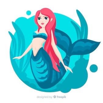 Sfondo disegnato a mano bella sirena