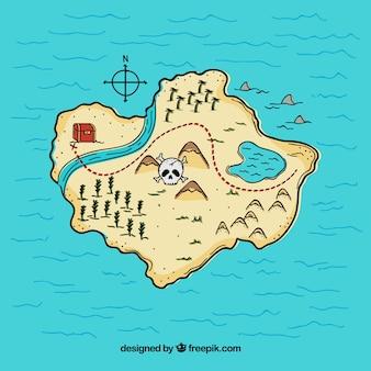 Sfondo disegnato a mano d'isola con il tesoro del pirata