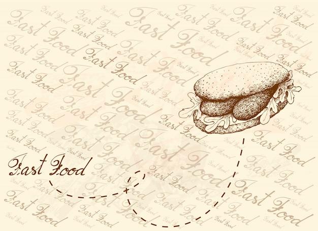 Sfondo disegnato a mano di delizioso panino con salsiccia