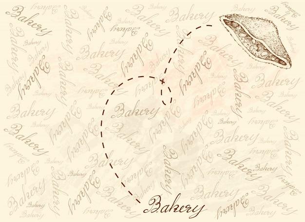 Sfondo disegnato a mano di delizioso panino croccante