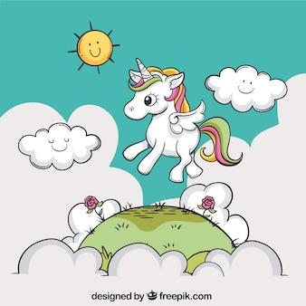 Sfondo disegnato a mano di un unicorno in un paesaggio