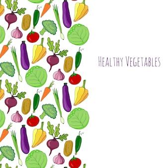 Sfondo disegnato a mano di verdure. isolati verdure cornice decorazione illustrazione vettoriale.