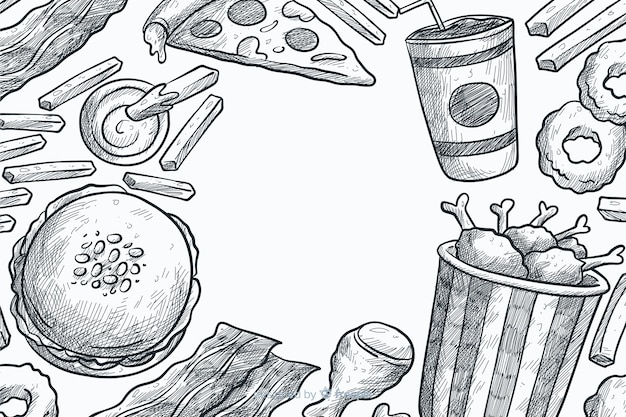 Sfondo disegnato a mano fast food