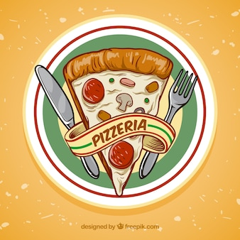 Sfondo disegnato a mano fetta di pizza