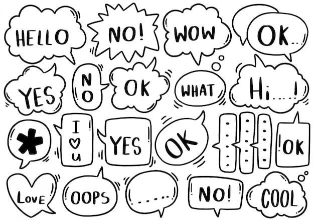 Sfondo disegnato a mano set di discorso carino eith testo in stile doodle