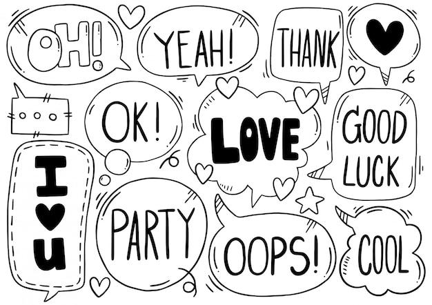 Sfondo disegnato a mano set di fumetto carino eith testo in stile doodle