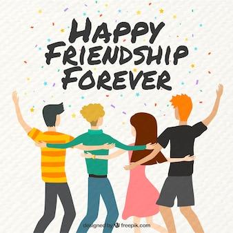 Sfondo divertente di amici e confetti