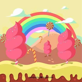 Sfondo divertente paesaggio di caramelle
