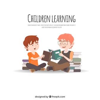 Sfondo educativo con gli studenti a leggere