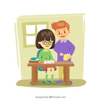 Sfondo educativo dei bambini facendo compiti a casa