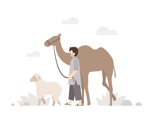 Sfondo eid al-adha con un uomo musulmano che cammina con il suo cammello e illustrazione di pecore