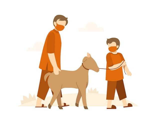 Sfondo eid al-adha con un uomo musulmano e suo figlio camminano insieme portando una capra all'illustrazione della moschea