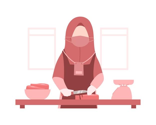 Sfondo eid al-adha con una donna musulmana indossa un hijab e sta cucinando la carne nell'illustrazione cucina