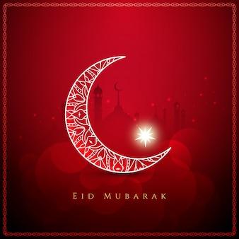 Sfondo elegante eid mubarak di colore rosso